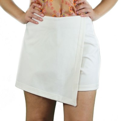 Shorts Saia Assimétrico Cor Creme - TALGUI