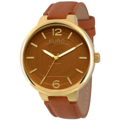 Kit Relógio Euro Basic Couro Marrom + 1 Lenço - EU2036LYV/K2M