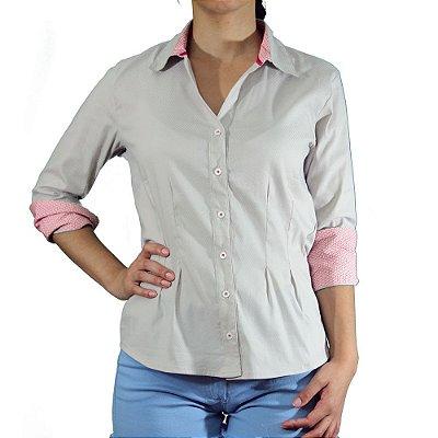 Camisa Cor Bege Com Punho Estampado - Cittá