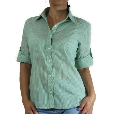 Camisa Listrada Manga 3/4 Cor Verde - Cittá