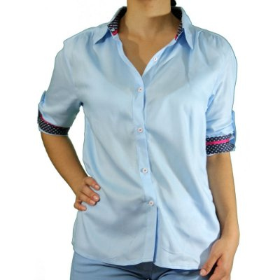 Camisa Manga 3/4 Cor Azul Com Punho Colorido - Cittá