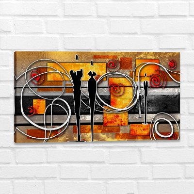 Quadro Decorativo Abstrato Casal Moderno para Sala de Jantar e Estar