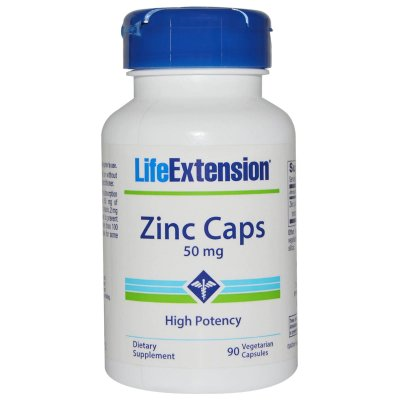 LIFE EXTENSION ZINC CAPS | 50 MG, 90 VEGETARIAN CAPSULES