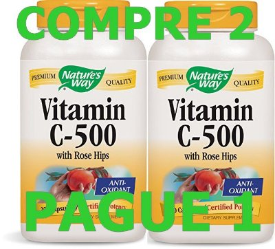 2 NATURE'S WAY VITAMINA C-500 COM ROSE HIPS - 500 MG - 100 CÁPSULAS