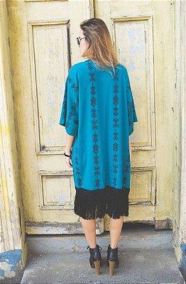 Kimono Com Bordado & Franjas