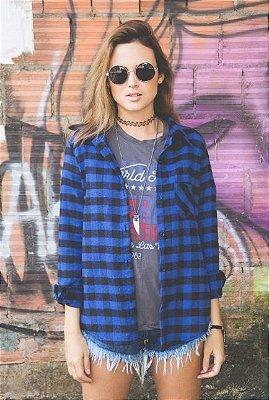 Camisa De Flanela Xadrez Azul