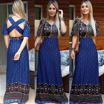 Vestido Longo Azul Losangos