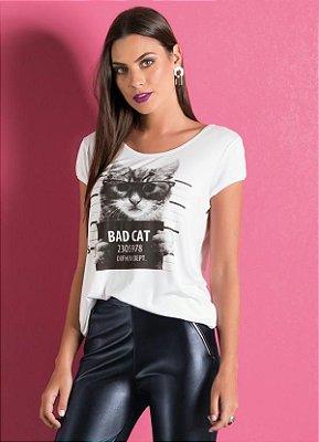 T-Shirt Manga Curta Estampa Bad Cat