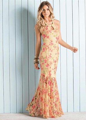 Vestido Longo Frente Única Floral