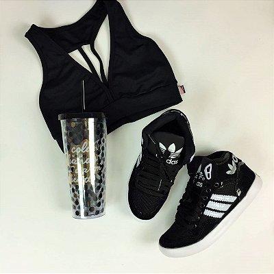 Tênis Cano Médio Preto & Branco - Adidas Inspired