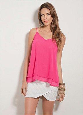 Blusa Quintess com Leve Transparência Pink