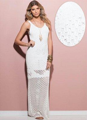 Vestido Longo Tricô Branco