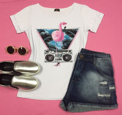 Tee Shirt Branca Flamingo