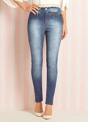 Calça Skinny Jeans Azul Cintura Alta