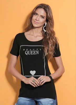 T-Shirt Quintess Mullet Preta com Estampa