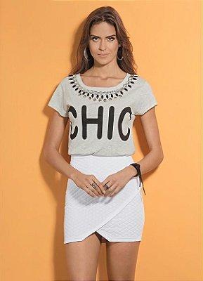 T-Shirt Quintess Cinza com Pedrarias