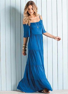 Vestido Longo Ombros de Fora Azul