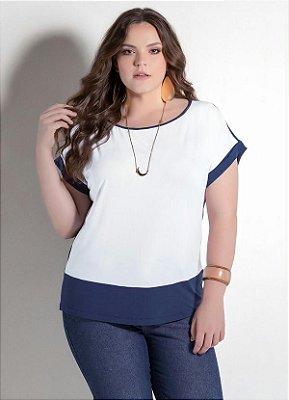 Blusa Bicolor Branco e Azul Plus Size