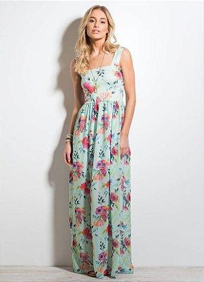 Vestido Longo Floral Quintess em Chiffon