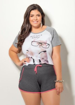 T-Shirt Quintess Cat Branco e Mescla Plus Size