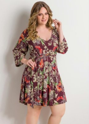 Vestido Decote em V Floral Plus Size