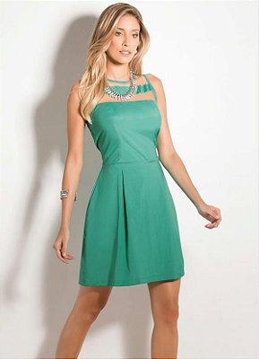 Vestido com Detalhes Transparentes Verde