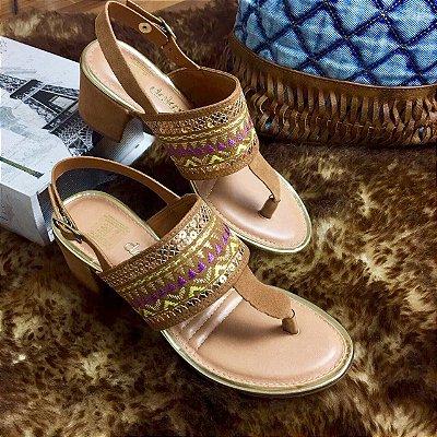Sandália Dakota Bordado Dourada & Roxa