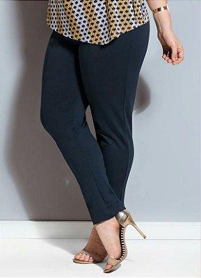 Calça Quintess de Jacquard Marinho Plus Size