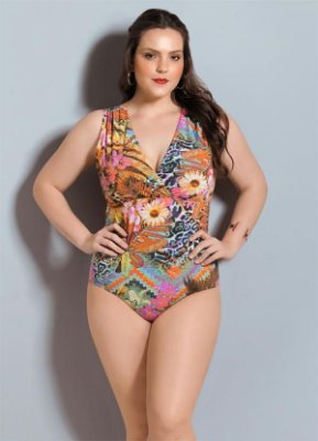 Body Floral Quintess Decote em V Plus Size