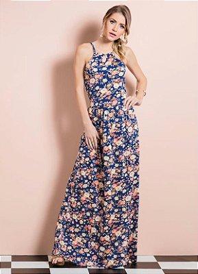 Vestido Longo Floral Quintess sem Mangas