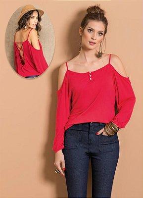 Blusa Ciganinha com Abertura nas Costas Vermelha