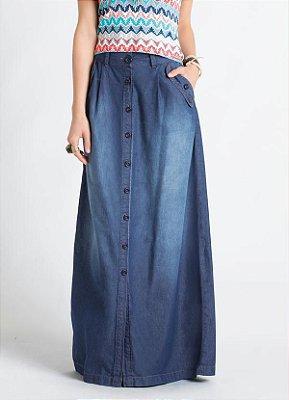 Saia Longa Jeans Azul com Botões Frontais