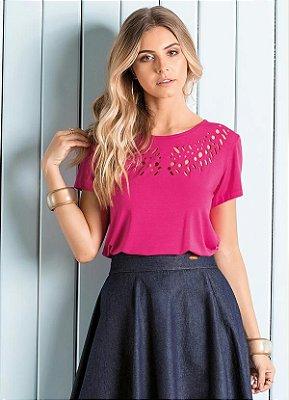 Blusa com Vazado no Decote Pink