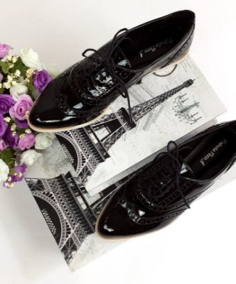 Sapato Oxford Envernizado - Preto & Branco