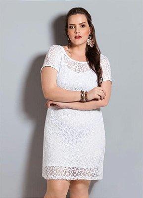 Vestido de Renda Branco Quintess Plus Size