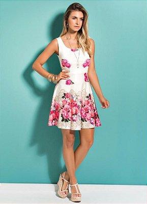 Vestido Floral Rosas Evasê Quintess