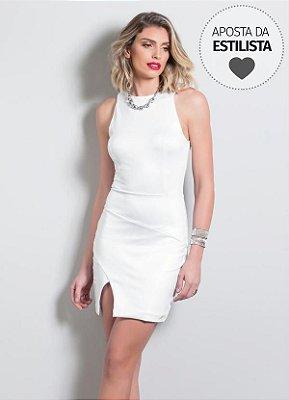 Vestido Tubinho com Fenda Quintess Branco