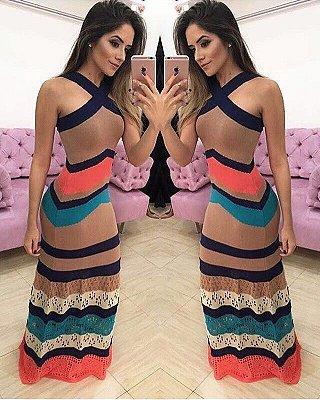 Vestido Longo Tricot MultiColor P&V 17