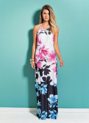 Vestido Longo Floral Quintess Decote nas Costas