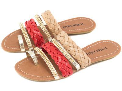 Sandália Rasteira Com Tiras Trançadas Multicolor - Torricella