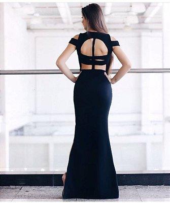 Vestido Longo Preto Com Recortes Posterior Vazado - Premium