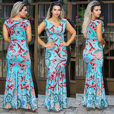 Vestido Longo Azul & Vermelho - Carol P&V 17