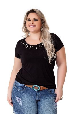 Blusa Visco Com Aplic Pala Plus Size