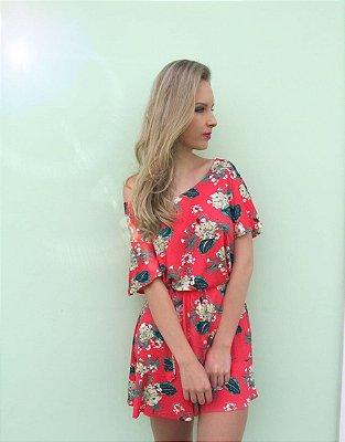 Vestido Curto Coral Com Estampa Floral - Dani - In Love P&V 17