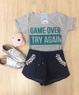 T-Shirt Em Malha Mescla Game Over - In Love