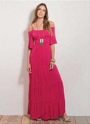 Vestido Longo Quintess Ombros de Fora Rosa