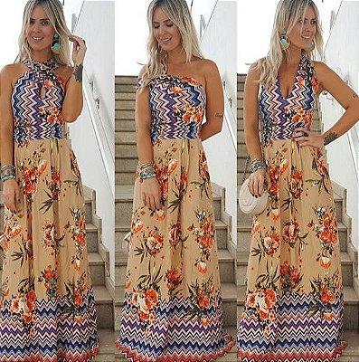 Vestido Longo Floral & ZigZag Multi Formas P&V 17