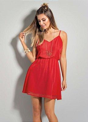 Vestido de Chiffon Quintess Vermelho
