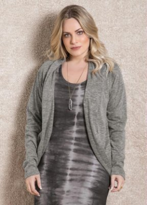 Cardigan de Malha Quintess Mescla Plus Size