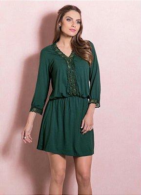 Vestido Quintess com Detalhe de Renda Verde